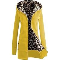 Cerui Mujeres de Leopardo de Impresión de Cierre de Cremallera Sudadera con Capucha Grueso Abrigo