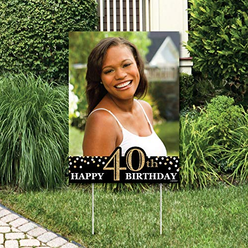 Big Dot of Happiness Custom Adult 40th Birthday - Gold - Photo Yard Sign - Birthday Party Decorations ()