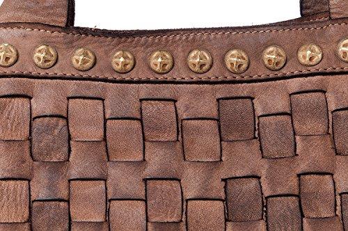 Fango Valle Da Italy Made Borsa Vintage Vegas Spalla Bag Mano Ira Intrecciata Donna Modello Con E Grande Tracolla In Notte Ragazza Las Pelle Vera A Del Donna pxB5w4