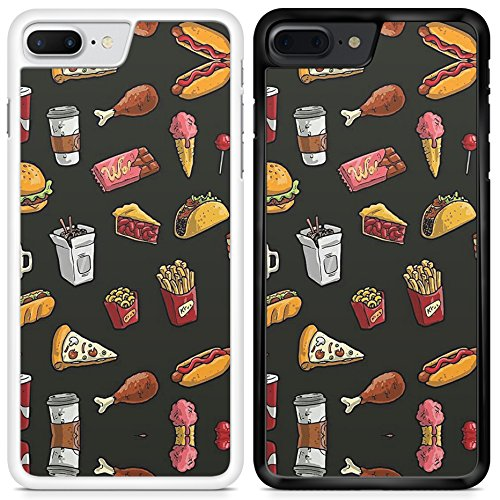 Vintage Design Food Pizza Burger Chips Drinks Printed Case for Samsung Galaxy S7 Edge YF01/Black
