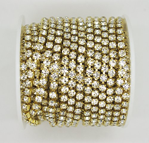 10 Yard Crystal Rhinestone Close Chain Clear Trim Sewing Craft Gold Color (4mm)