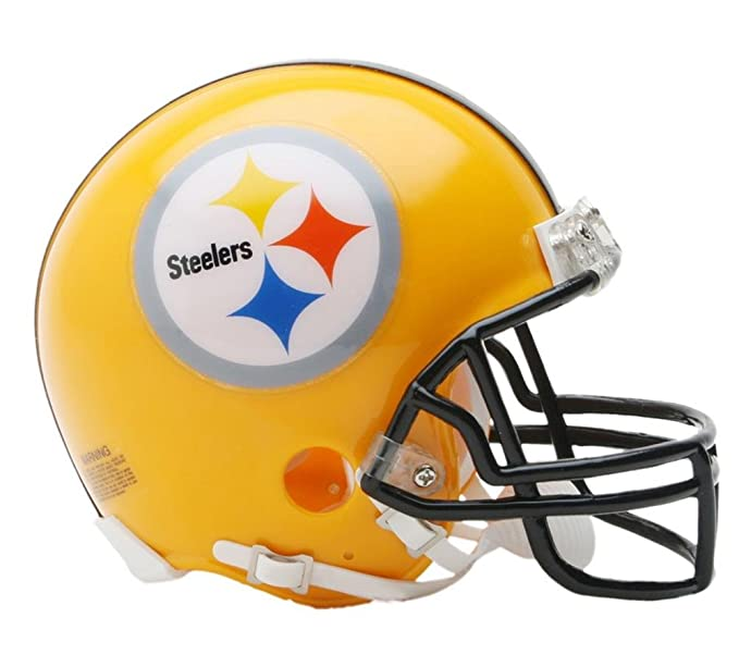 the latest 26715 bfce1 Riddell NFL Pittsburgh Steelers Helmet Replica Mini VSR4 Style 75th  Anniversary Throwback 2007 Gold, One Size, Team Color