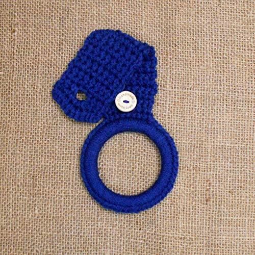 Navy Blue Crochet Hanging Towel Holder, Kitchen Decor