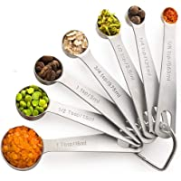 Palada Stainless Steel Metal Measuring Spoons Set - Small Tablespoon to 1/8 Teaspoon 7 Mini Measurement Spoons with Ring Holder Bonus 10K Recipe E-book