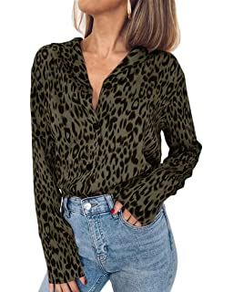 DMZ Womens V-Neck Leopard Print T-Shirts Casual Loose Tops ...