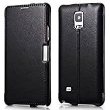 Galaxy Note 4 Case, [Luxury Series] Genuine Leather Flip Cover Case [Simple Stand] [1 Card Slot] with Magnetic Closure for Samsung Note 4 (Black)