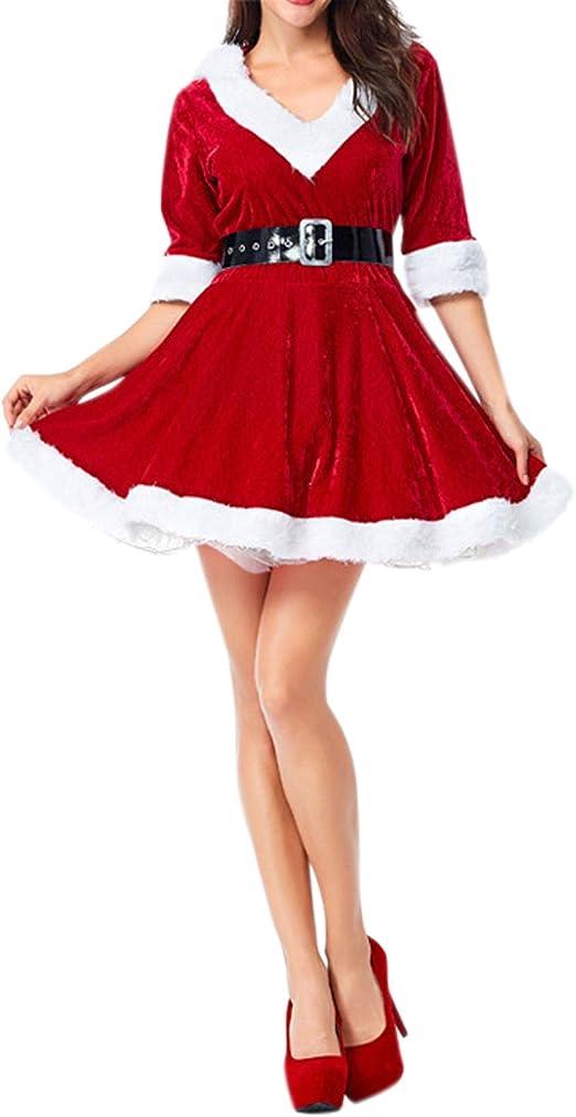 semen Base de Navidad Mujer Mini Vestido (algodón con cinturón ...
