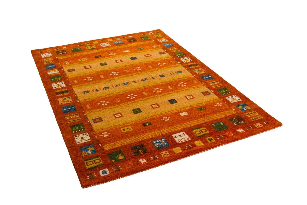 Natur Teppich Indo Gabbeh Esta Orange Bunt Bunt Bunt Bordüre in 6 Größen B0784FBSDB Teppiche a4441d