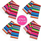 Habbi Mexican Table Runner 4Pack 14 x 110 Inches Large Mexican Theme Party Decoration for Cinco de Mayo Fiesta Party Serape Table Runner Red and Blue