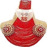 aczuv 25 Rows 4mm Crystal Beaded African Beads Jewelry Set Nigerian Wedding Necklace