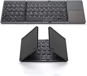 Foldable Bluetooth Keyboard, Gimibox Pocket Size Portable Mini BT Wireless Keyboard with Touchpad for Android, Windows, PC, Tablet, with Rechargeable Li-ion Battery-Dark Gray