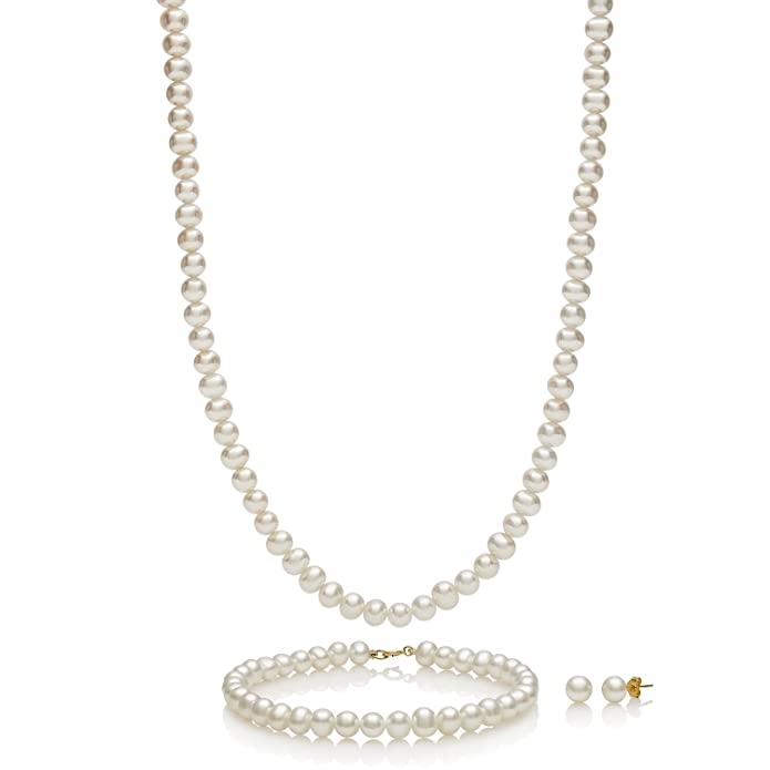 14k Yellow Gold Cultured Freshwater Pearl Necklace Bracelet Stud Earring Jewelry Gift Set,18