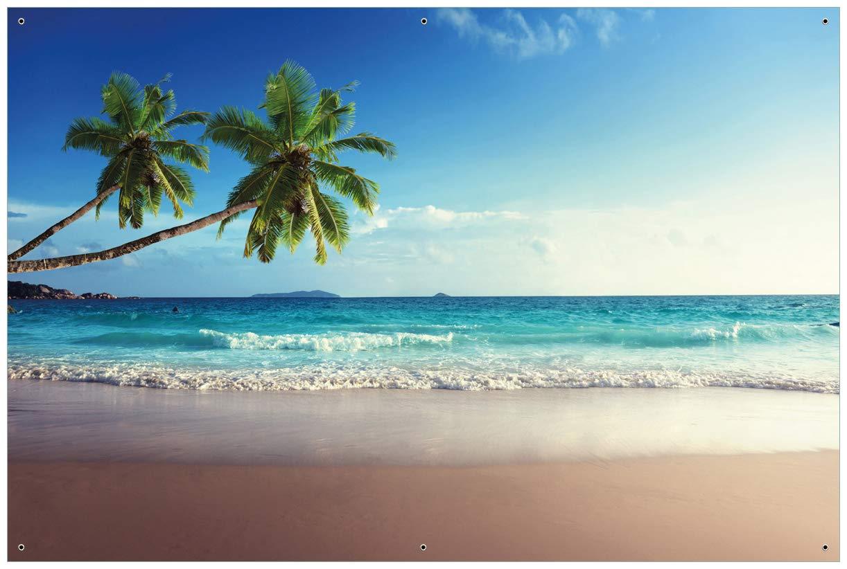 Wallario Garten-Poster Outdoor-Poster - Sandstrand auf den Seychellen - Urlaub unter Palmen in Premiumqualität, Größe: 61 x 91,5 cm, für den Außeneinsatz geeignet Größe: 61 x 91 posterdepot