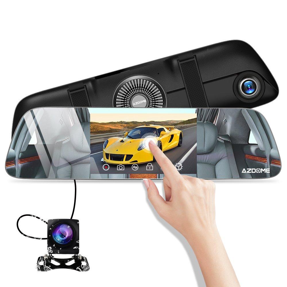 AZDOME Specchietto Retrovisore Dash Cam Super Visione Notturna Starlight e 5.5' IPS Touch Screen Doppie telecamere Full HD 1080P + 720P, Registrazione in Loop e Monitor di Parcheggio - PG01 FRDOME-PG01-XIN