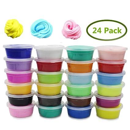amazon com anditoy 24 colors fluffy soft super light clay floam