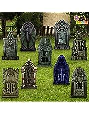 """JOYIN 9 Packs 16.34"""" Halloween Tombstone Yard Signs Decorations, Headstones for Halloween Yard Decoration, Outdoor Halloween Props, Halloween Lawn Yard Decorations, and Halloween Party Decor"""