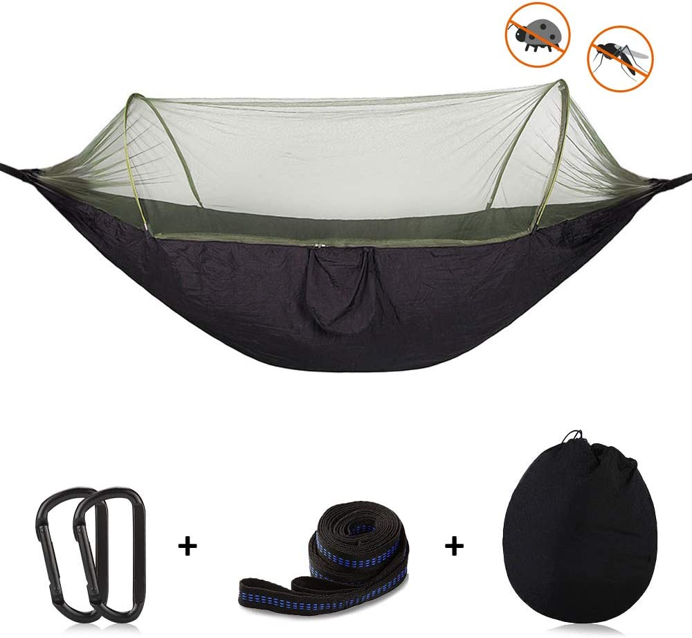 OTraki Camping Hammock with Mosquito Net 3.9 x 8ft Free Straps Carabiners Support 440lbs Single Person Parachute Mosquitoes Hammocks Portable Tree Tent for Outdoor Travel Hiking Backpacking