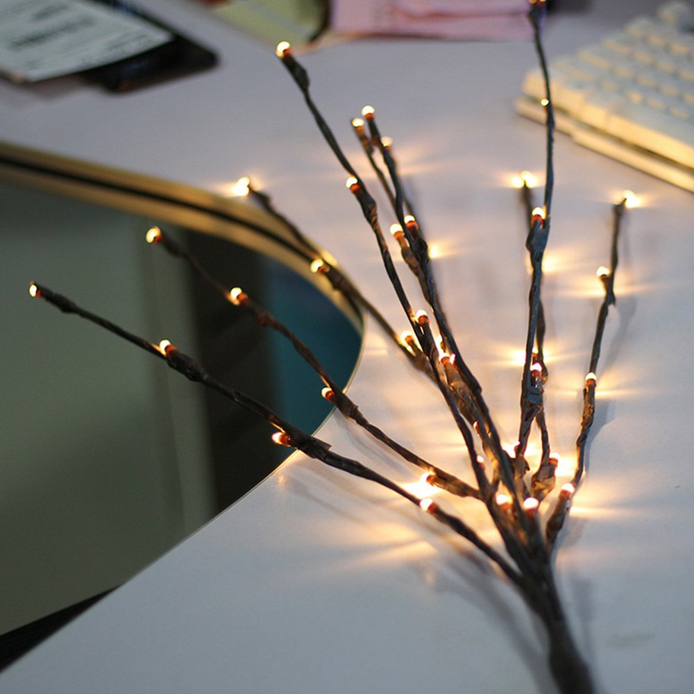 BLOOMWIN Realistic Twig Branch with Light Decorative Twig Lights Brown 77cm 20LED Indoor Decorative Lights for Living Room Wedding Twigs Fairy Light [Energy Class A] LIBEYE