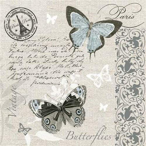 33 x 33 cm Servietten Alt und Modern 20 servilletas de Mariposas en Postal en Estilo Vintage para decoupage y t/écnica de servilletas