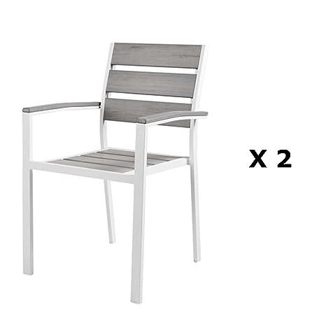 Sedie Alluminio E Legno.Ozalide 2 Sedie Di Giardino Boyos Alluminio Effetto Legno