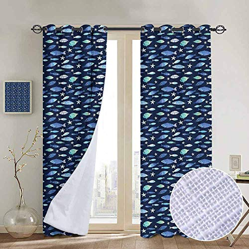 "NUOMANAN Living Room Curtains Fishes,Silhouettes of Aquarium Animals in Watercolor Effect Marine Life Illustration,Navy Blue Seafoam,Adjustable Tie Up Shade Rod Pocket Curtain 120""x96"""