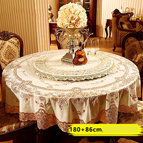 Pvc Tablecloth Fabric (Oil-proof Waterproof Spillproof Round table cloth [bronzing] Pvc,Heat-resistant Disposable Table cloth Disc Turntable Tea table mats-C diameter210cm(83inch))