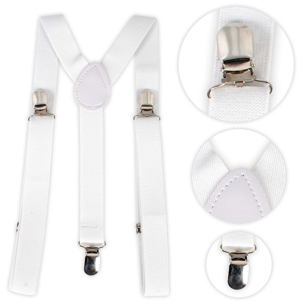 Clip-on Braces Elastic Y-back Suspenders White FAG8