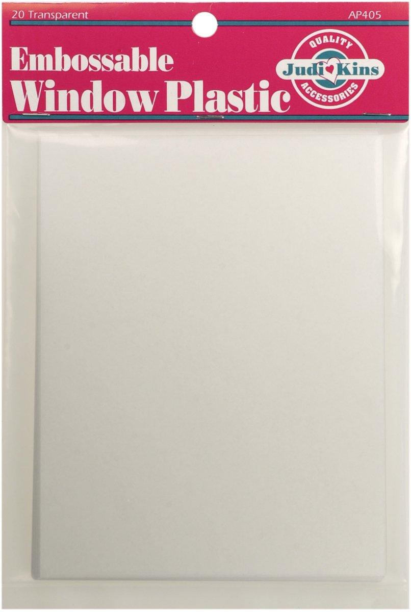 Judikins Embossable Finestra plastica Fogli, 10,8cm x 14cm, Clear, 20-Pack AP405