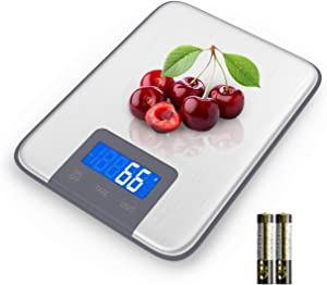 Nicewell Food Kitchen Scale Digital LCD Screen Display Multi-Functional 1g High Accuracy Digital Kitchen Scale with Stainless Steel Platform, Back-Lit LCD (Batteries Included)