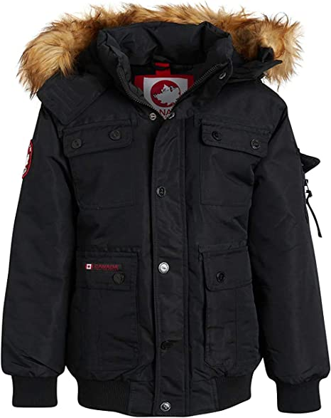 CANADA WEATHER GEAR Girls Outerwear Bomber Parka Jacket with Faux Fur Hood