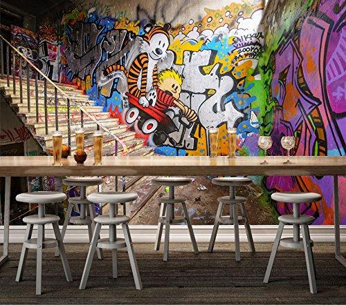 3D Cartoon Graffiti Stairs Painting 682 Wall Paper Wall Print Decal Wall Deco Indoor wall Murals Removable Wall Mural | Self-adhesive Large Wallpaper , AJ WALLPAPER Carly ()