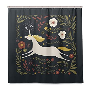 Amazoncom Dnoving Shower Curtain Unicorn And Beautiful Floral