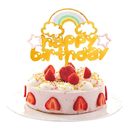 Image Unavailable Not Available For Color Rainbow Happy Birthday Cake Topper