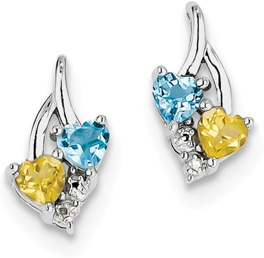.01cttw Mia Diamonds 925 Sterling Silver 14mm x 8mm Heart Shape Blue Topaz and Citrine Diamond Earrings