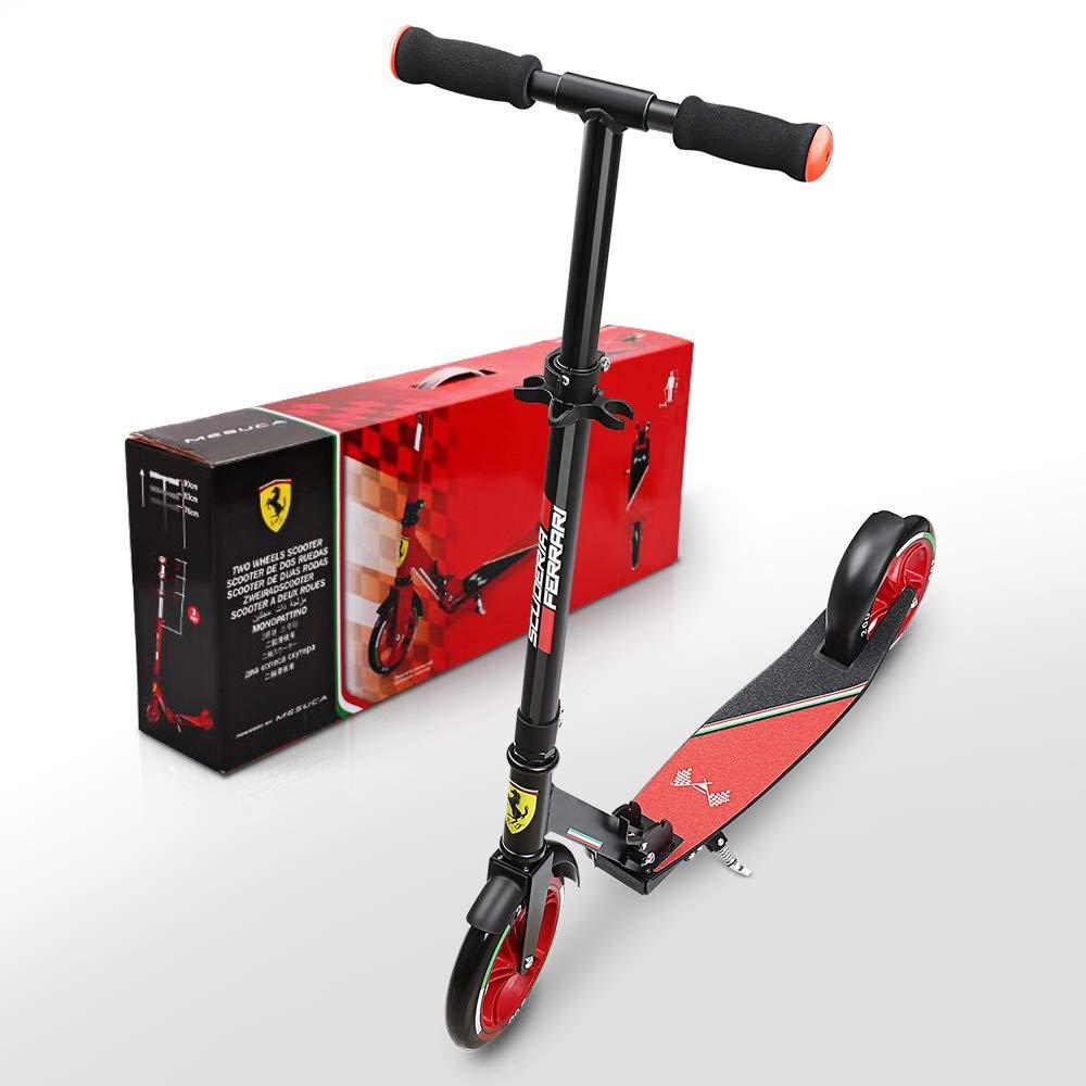 Ferrari Niños Roller City Patinete Plegable para Jóvenes y Niños MAX. 100 kg, Color Negro