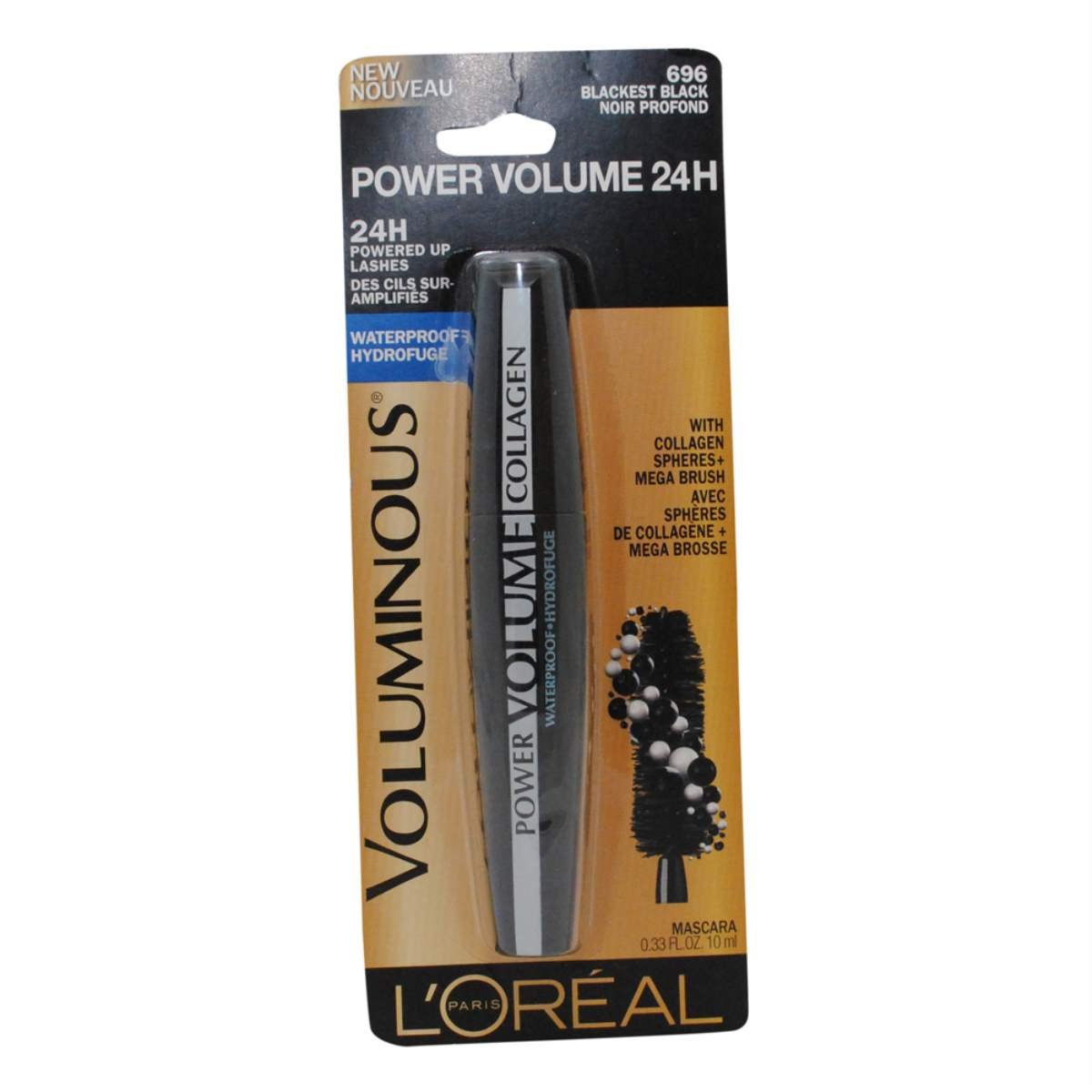 Amazon.com : 2 Pack- LOreal Power Volume 24H Waterproof Mascara #696 Blackest Black : Beauty