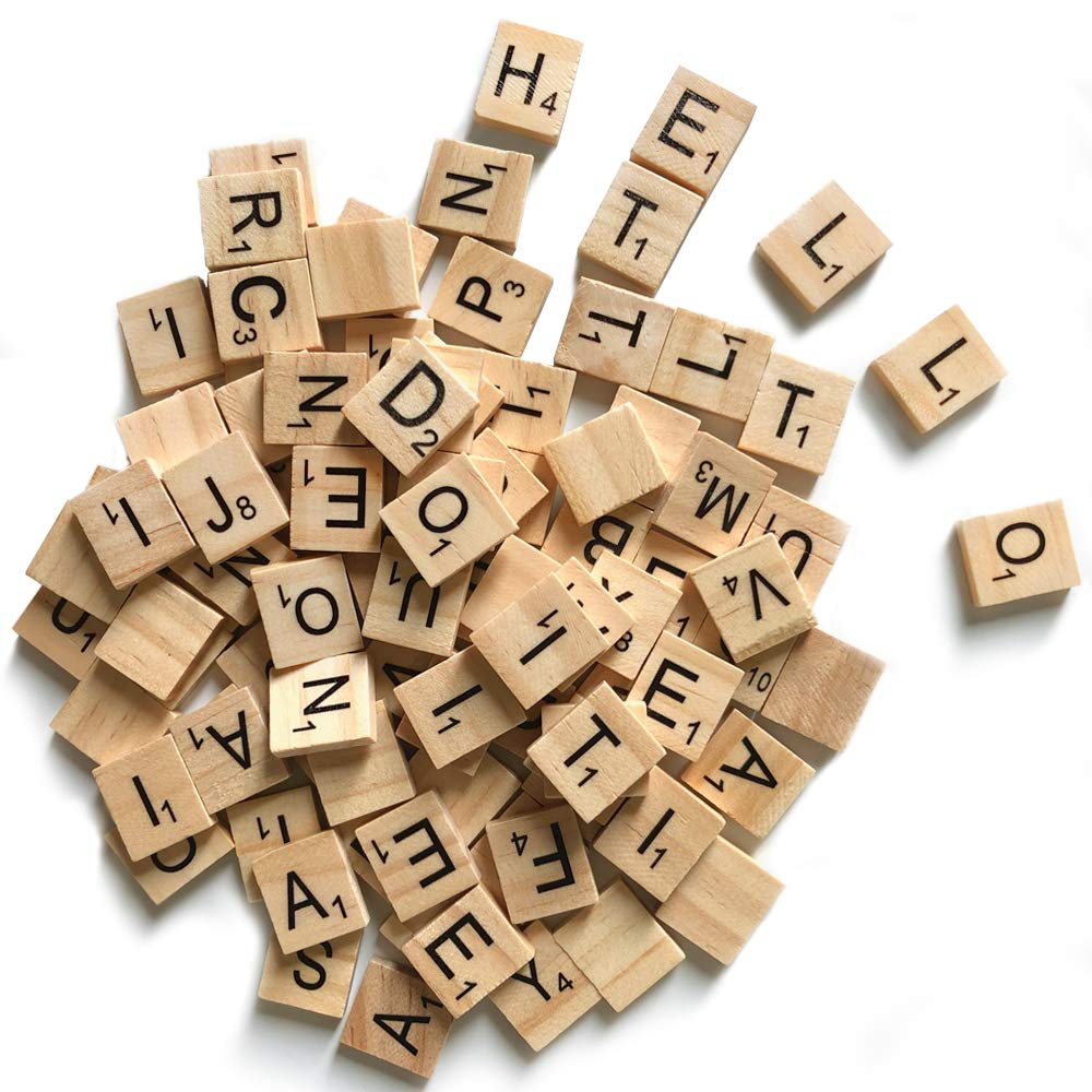 500 Wood Letter Tiles,Scrabble Letters for Crafts - DIY Wood Gift Decoration - Making Alphabet Coasters and Scrabble Crossword Game by QMET