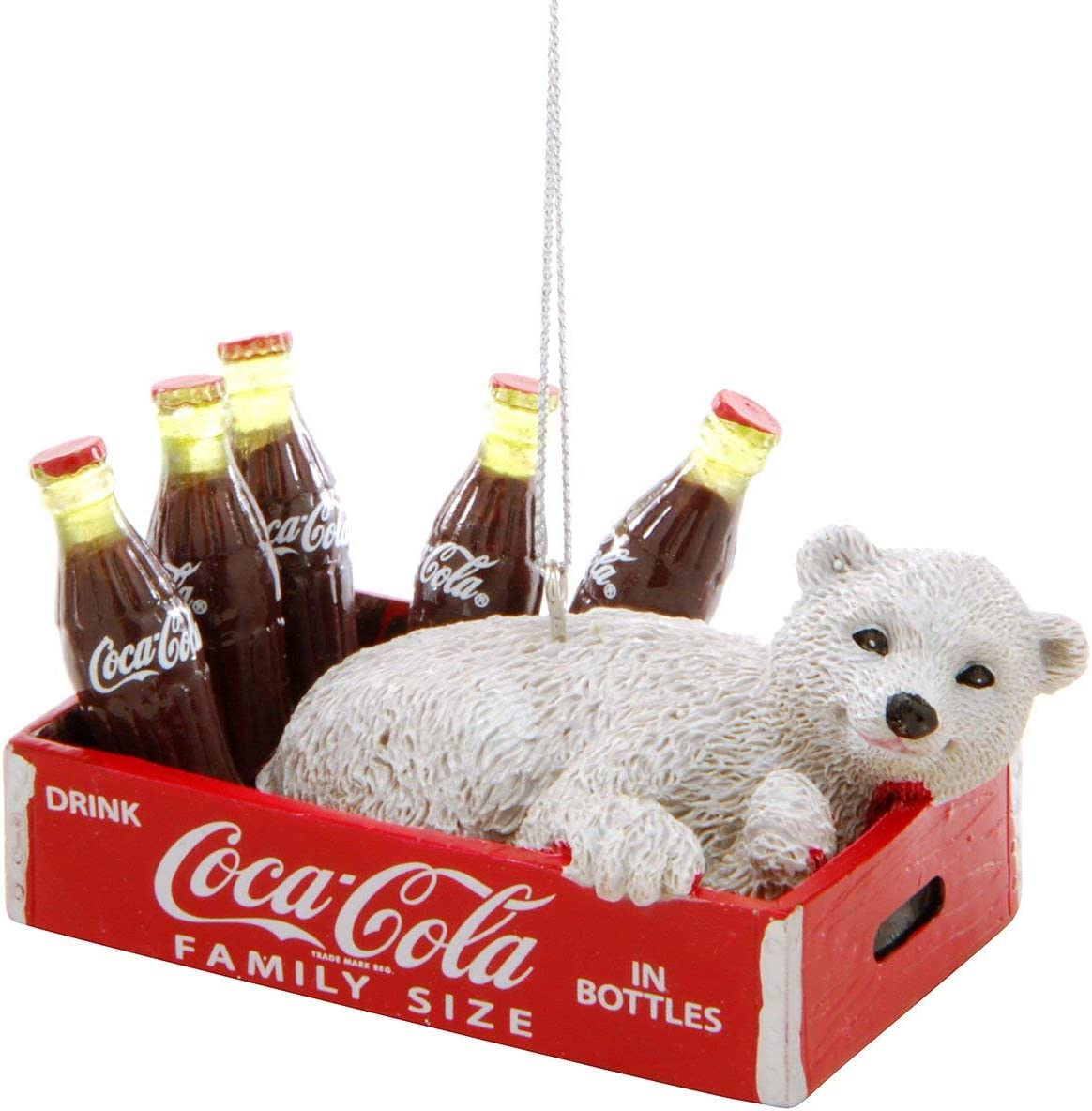 Kurt Adler Coca-Cola Polar Bear Cub In Crate With Bottles Ornament