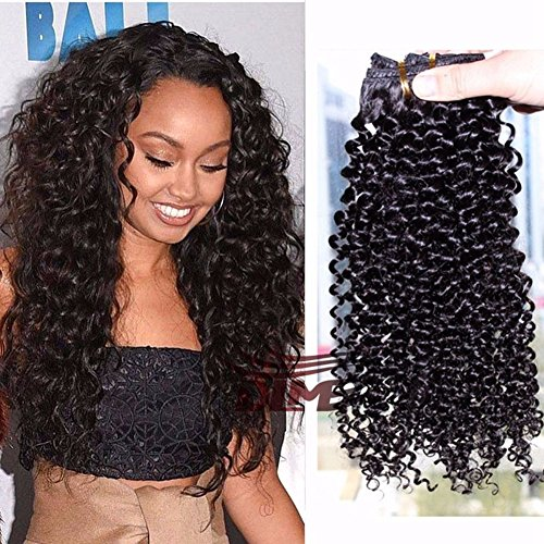 MEIEM Clip In Human Hair Extensions Brazilian Virgin African American 4B 4C Afro Kinky Curly Clip in Hair Extensions Natural Color Clip Ins For Black Women 12 INCHES
