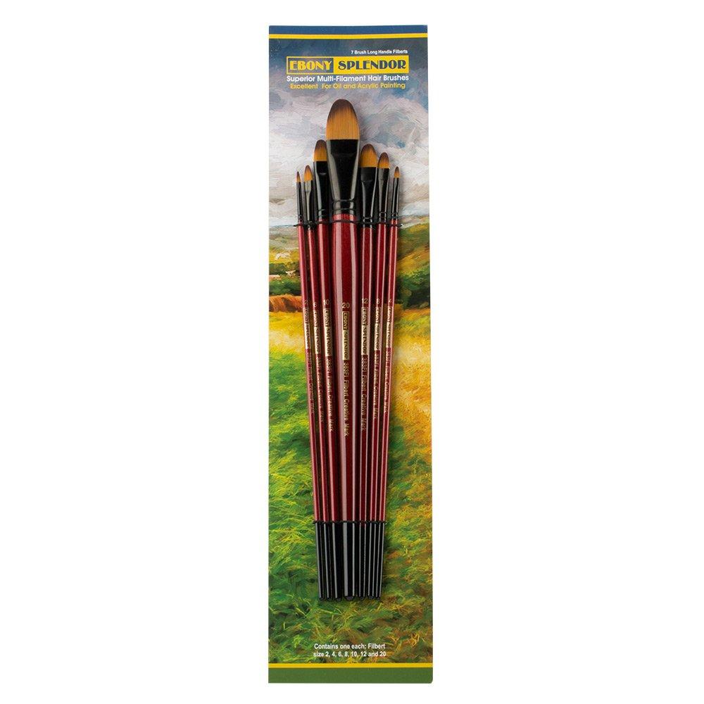 Ebony Splendor Brush Long Handle Filbert Set Creative Mark Ebony Splendor