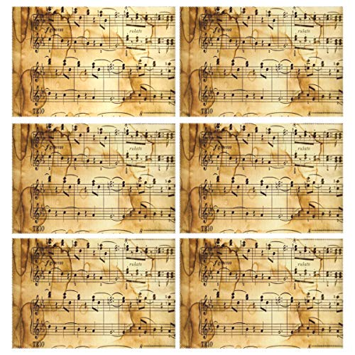 Cocoa trade Heat Resistant Placemats for Kitchen Table Mats Dining Room,Classical Music (2) Washable Insulation Non Slip Placemat 12x18 inch(6 pcs) -