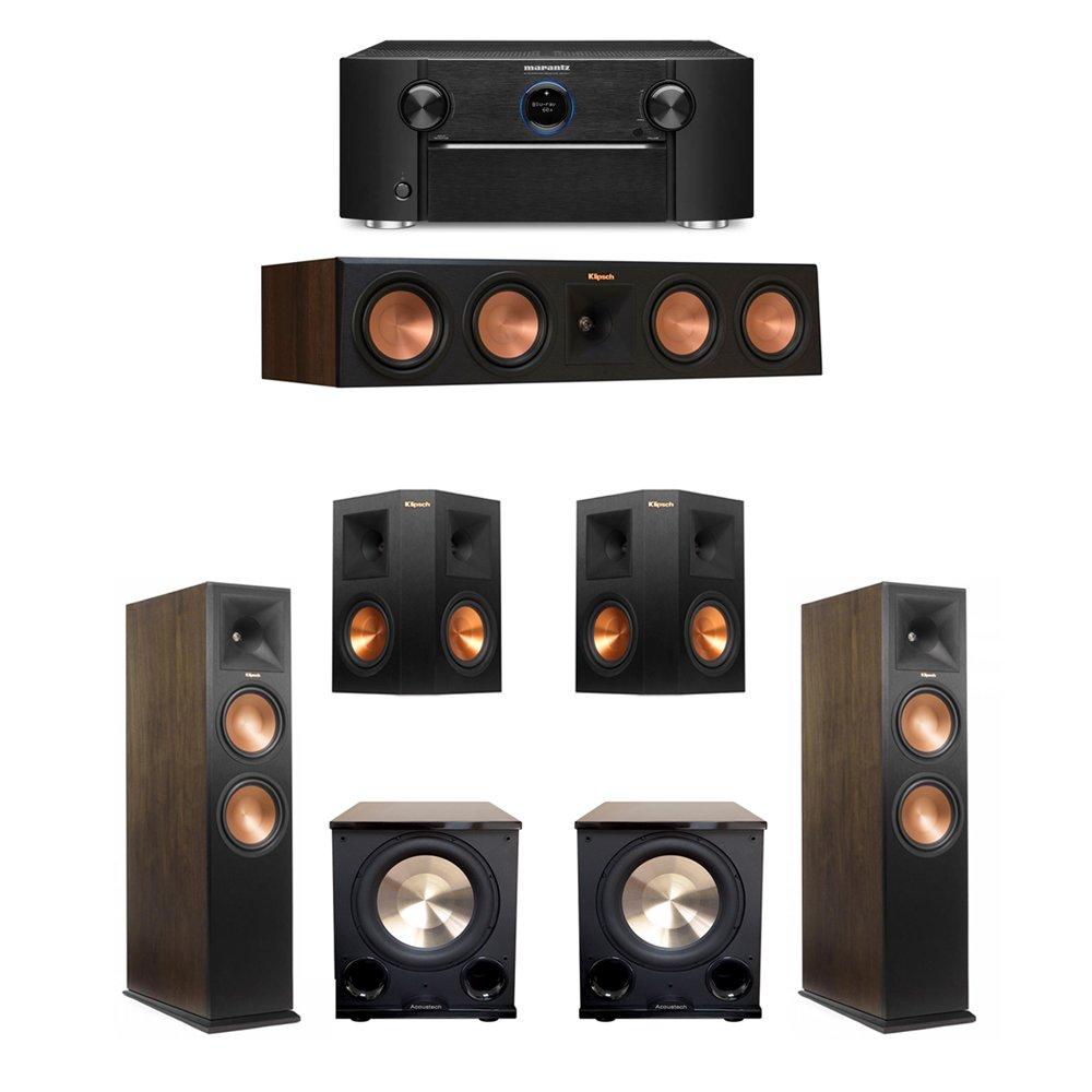 Klipsch Walnut 5.2 System with 2 RP-280FA Tower Speakers, 1 RP-450C Center Speaker, 2 RP-250S Ebony Surround Speakers, 2 BIC/Acoustech PL-200 II Subwoofers, 1 Marantz SR7011 A/V Receiver by Klipsch