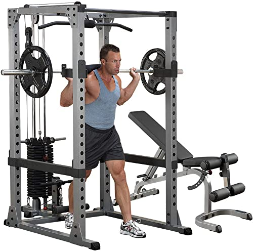 Body-Solid GPR378 Power Rack with Lat and Heavy Bench