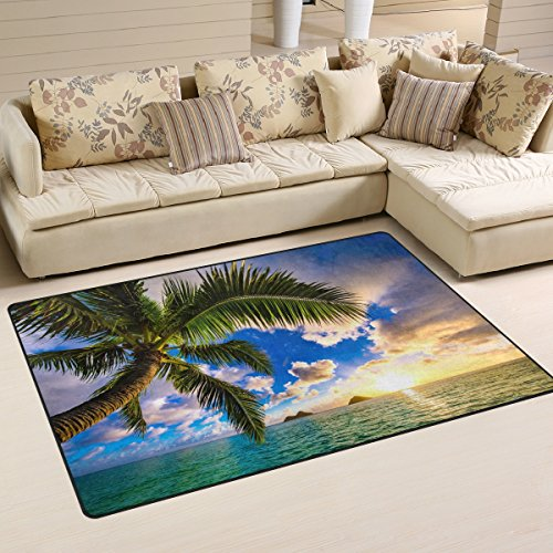 Naanle Beautiful Sunrise Ocean Area Rug 3'x5', Hawaii Palm Tree Polyester Area Rug Mat for Living Dining Dorm Room Bedroom Home Decorative by Naanle