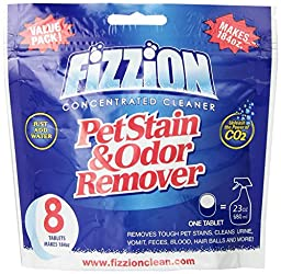 Pet Stain and Odor Eliminator by Fizzion - Removes Pet Urine and Feces Safely With The Professional Cleaning Power of CO2 (8 Tablets) Makes 184oz