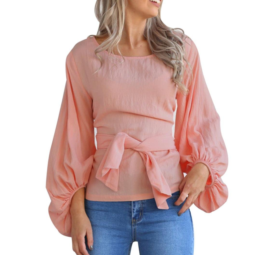 Botrong Women's Solid Long Lantern Sleeve Loose Casual Blouse Tops (M, Pink)