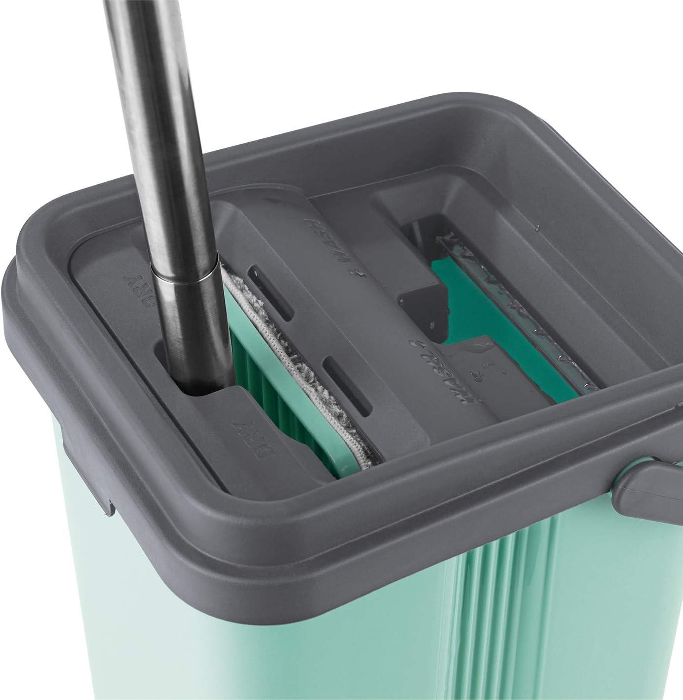 2 chiffons en microfibre inclus seau avec syst/ème /à 2 chambres pour le s/échage et lhumidification CLEANmaxx mop confort compact avec fonction dessorage int/égr/ée