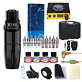 Dragonhawk Mast Tour Rotary Tattoo Pen Machine Kit Power Supply 10Pcs Cartridges with Carry Case