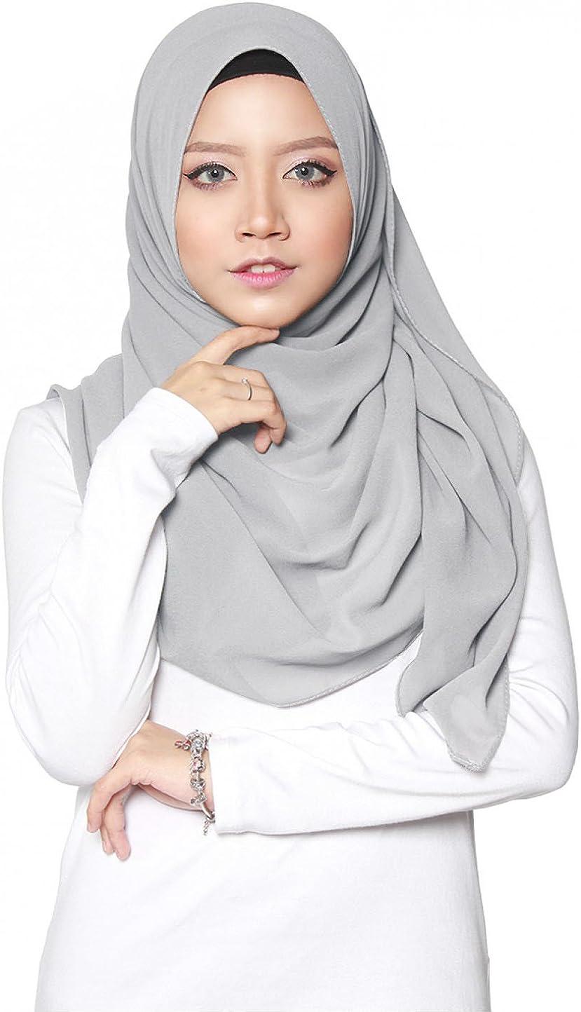 ❤️ SAFIYA Chiffon Marrone Hijab per donne musulmane velate 75x180cm Foulard velo turbante sciarpa pashmina scialle islamico cuffia abaya