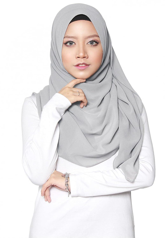 ❤️ SAFIYA - Hijab pour femmes musulmanes voilées I Foulard voile turban écharpe pashmina châle islamique I Mousseline de soie I Gris clair - 75x180cm